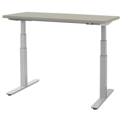 """ergoCentric upCentric Height-Adjustable Table, Dove Grey, 30"""" x 60"""" 30""""X60""""  ELECTRIC W 2 GROMMETS SILVER FRAME  GREY TABLE TOP"""