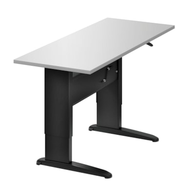 "Global Manual Height-Adjustable Table, 56"" x 30"" x 26""-46"" WHITE  BLACK BASE/LEGS"