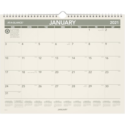 "At-A-Glance 12-Month Monthly Green Living Wall Calendar, 15"" x 12"", January - December, Bilingual 15X12 100% PC PAPER/90% PC WIRE"