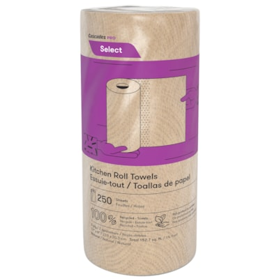 Cascades PRO Select 2-Ply Paper Towels, Natural, 250 Sheets/RL, 12/CS NATURAL  250 SHEET/ROLL 12 ROLLS/CASE 100% RECYCLED