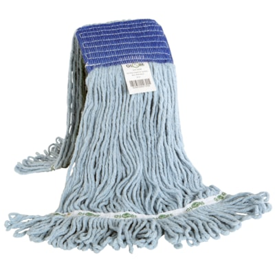 Globe Commercial Products Synthetic Looped-End Wet Mop, Blue Wide-Band, Blue, 16 oz LOOPED END  SYNTHETIC  BLUE