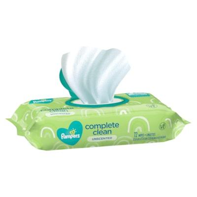Lingettes pour bébés Pampers Complete Clean, non parfumées, emb. de 72