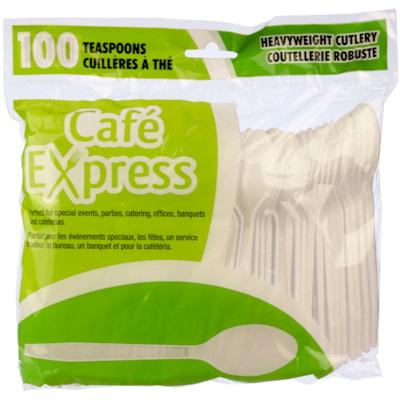 Ustensiles en plastique rigide Café Express, cuillères à thé, blanc, emb. de 100 RIGIDE CAFÉ EXPRESS 100/EMB. 100 % RECYCLABLES  FLEXIBLES