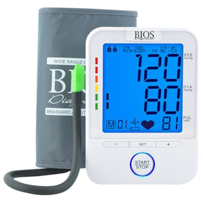 BIOS Living Easy Read Blood Pressure Monitor with Blue Backlight LARGE DIGITS  DIGITAL BLUE