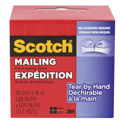 Scotch Tear-By-Hand Mailing Packaging Tape, Clear, 48 mm x 16 m 48MM X 16M
