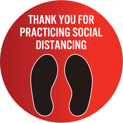 """Sterling Social Distancing Floor Decal, English, Thank You For Practicing Social Distance, Black/White on Red, 12"""" QTY1-9"""