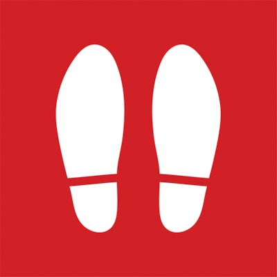 """Sterling Social Distancing Floor Decal, Shoe Imprint, White on Red, 12"""" x 12"""" QTY1-9"""