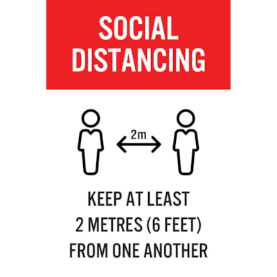 """Sterling Light Gauge Plastic Social Distancing Sign, English, Social Distancing, Black/Red/White, 12"""" x 18"""" QTY1-9"""