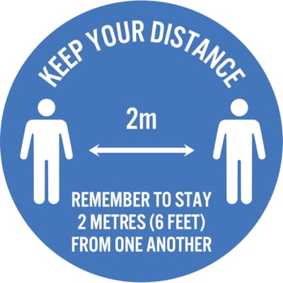 "Sterling Social Distancing Circular Carpet Decal, English, Keep Your Distance - Remember to Stay 2 Metres From One Another, White on Blue, 12"" QTY1-9"