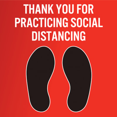 """Sterling Social Distancing Carpet Decal, English, Thank You For Practicing Social Distance, Black/White on Red, 12"""" x 12"""" QTY1-9"""