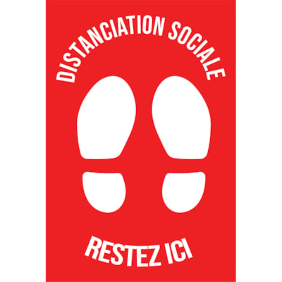 """Sterling Social Distancing Carpet Decal, French, Restez Ici, White on Red, 12"""" x 18"""" QTY1-9"""