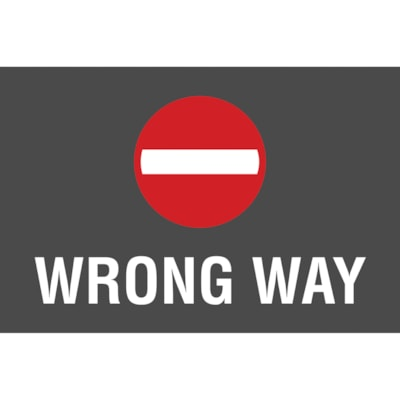 """Sterling Social Distancing Floor Decal, English, Wrong Way, White on Black/Red, 12"""" x 18"""" QTY1-9"""