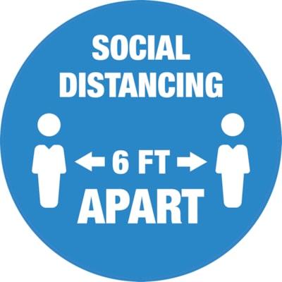 """Sterling Social Distancing Circular Carpet Decal, English, Social Distancing 6 FT Apart, White on Blue, 12"""" QTY1-9"""