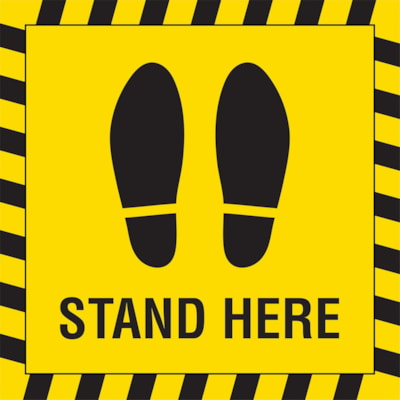 """Sterling Social Distancing Carpet Decal, English, Shoe Imprint with Stand Here, Black on Yellow, 12"""" x 12"""" QTY1-9"""