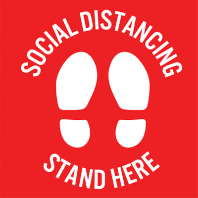 """Sterling Social Distancing Carpet Decal, English, Stand Here, White on Red, 12"""" x 12"""" QTY1-9"""