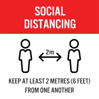 """Sterling Social Distancing Carpet Decal, English, Keep At Least 2 Metres From One Another, Black/Red/White, 12"""" x 12"""" QTY1-9"""