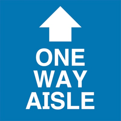 """Sterling Social Distancing Floor Decal, English, One Way Aisle with Arrow, White on Blue, 12"""" x 12"""" QTY1-9"""