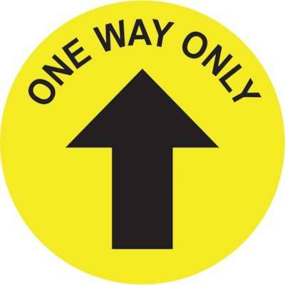 Autocollant de sol de distanciation sociale Sterling, anglais, One Way Only avec flèche, noir sur fond jaune, 12 po QTé 1-9