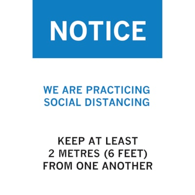 """Sterling Light Gauge Plastic Social Distancing Sign, English, Notice - We are Practicing Social Distancing, Blue/White/Black, 12"""" x 18"""" QTY1-9"""