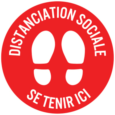 """Sterling Social Distancing Circular Carpet Decal, French, Distanciation Sociale - Setenir Ici, White on Red, 12"""" QTY1-9"""