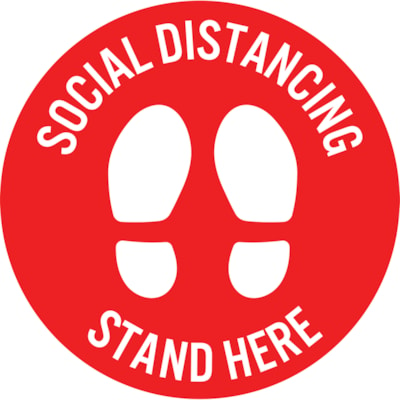 """Sterling Social Distancing Circular Carpet Decal, English, Stand Here, White on Red, 12"""" QTY1-9"""