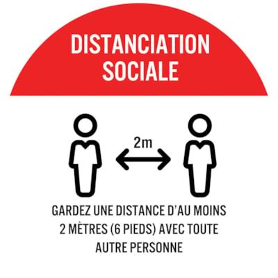 Autocollant circulaire de distanciation sociale pour tapis Sterling, français, Distanciation Sociale - Gardez une distance d'au moins 2 mètres (6 pieds) avec toute autre personne, blanc sur fond rouge, 12 po QTé 1-9