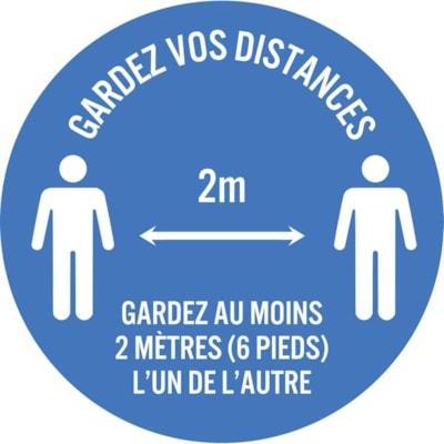 """Sterling Social Distancing Floor Decal, French, Gardez Vos Distances - Gardez Au Moins 2 Mètres L'Un De L'Autre, White on Blue, 12"""" QTY1-9"""