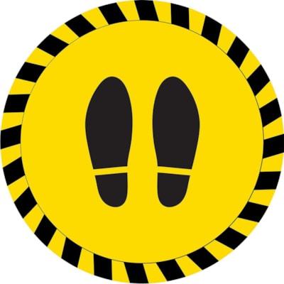 "Sterling Social Distancing Circular Carpet Decal, Shoe Imprint, Black on Yellow, 12"" QTY1-9"