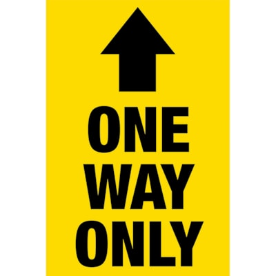 """Sterling Social Distancing Carpet Decal, English, One Way Only, Black on Yellow, 12"""" x 18"""" QTY1-9"""