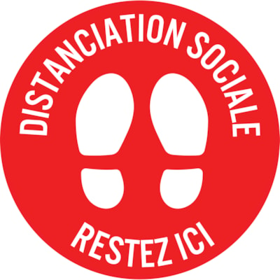 "Sterling Social Distancing Floor Decal, French, Restez Ici, White on Red, 12"" QTY1-9"