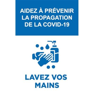 """Sterling Light Gauge Plastic Social Distancing Sign, French, Aidez à Prévenir la Propagation de la Covid-19, Blue and White, 12"""" x 18"""" QTY1-9"""