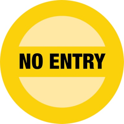 "Sterling Social Distancing Circular Carpet Decal, English, No Entry, Black on Yellow, 12"" QTY1-9"