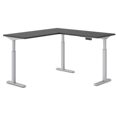 """Offices to Go Ionic Electric Height-Adjustable 3-Leg L-Shape Table Desk, 58"""" x 58"""" x 28""""-45 1/4"""" HEIGHT ADJUSTABLE DESK"""