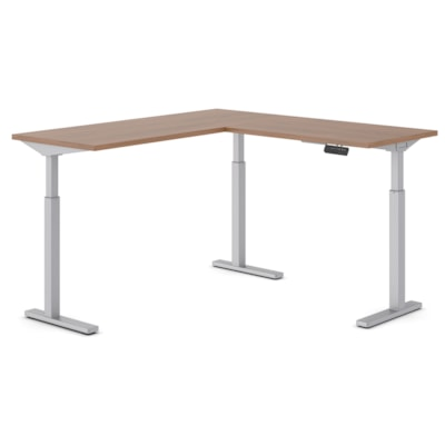 """Offices to Go Ionic 58"""" x 58"""" Electric Height-Adjustable 3-Leg L-Shape Table Desk, Winter Cherry HEIGHT ADJUSTABLE DESK"""