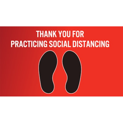 """Sterling Social Distancing Carpet Decal, English, Thank You For Practicing Social Distance, Black/White on Red, 12"""" x 18"""" QTY1-9"""
