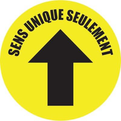 Autocollant de sol de distanciation sociale Sterling, français, Sens unique seulement avec flèche, noir sur fond jaune, 12 po QTé 1-9
