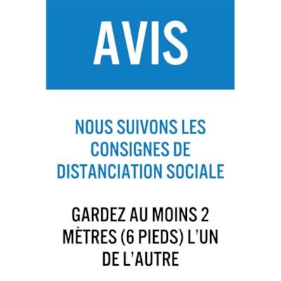 """Sterling Light Gauge Plastic Social Distancing Sign, French, Avis - Nous Suivons Les Consignes De Distanciation Sociale, Blue/White/Black, 12"""" x 18"""" QTY1-9"""