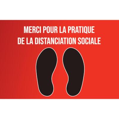 """Sterling Social Distancing Carpet Decal, French, Merci Pour La Pratique De La Distanciation Sociale, Black/White on Red, 12"""" x 18"""" QTY1-9"""