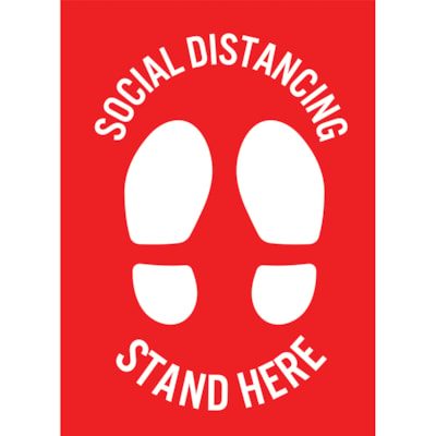 """Sterling Social Distancing Floor Decal, English, Stand Here, White on Red, 12"""" x 18"""" QTY1-9"""