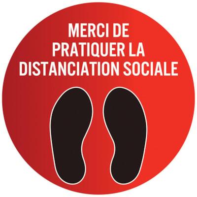 Autocollant circulaire de distanciation sociale pour tapis Sterling, français, Merci de pratiquer la distanciation sociale, noir et blanc sur fond rouge, 12 po QTé 1-9
