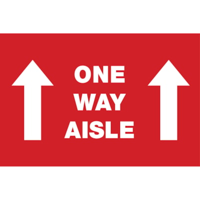 """Sterling Social Distancing Carpet Decal, English, One Way Aisle with Arrows, White on Red, 12"""" x 18"""" QTY1-9"""