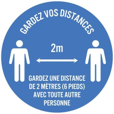 """Sterling Social Distancing Circular Carpet Decal, French, Gardez Vos Distances - Gardez Une Distance De 2 Mètres (6 Pieds) Avec Toute Autre Personne, White on Blue, 12"""" QTY1-9"""