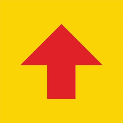 Autocollant de sol de distanciation sociale Sterling, flèche rouge sur fond jaune, 12 po x 12 po QTé 1-9
