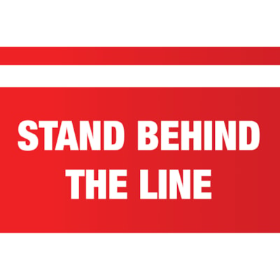 """Sterling Social Distancing Carpet Decal, English, Stand Behind the Line, White on Red, 12"""" x 18"""" QTY1-9"""