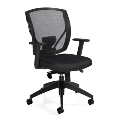 Offices To Go Mid-Back Ibex Synchro-Tilter Ergonomic Chair, Black Jenny Fabric Seat and Mesh Back MVL2801F JN02 BLK