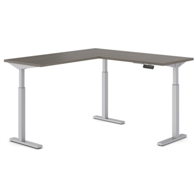 """Offices to Go Ionic Electric Height-Adjustable 3-Leg L-Shape Table Desk, Absolute Acajou, 58"""" x 58"""" x 28""""-45 1/4"""" HEIGHT ADJUSTABLE DESK ABSOLUTE ACAJOU"""