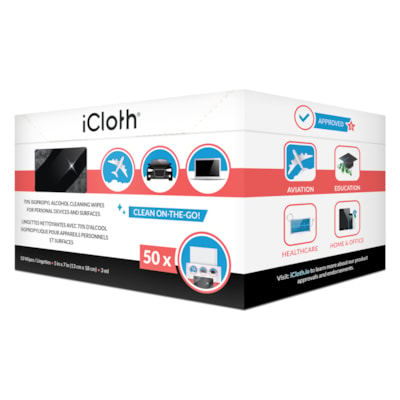 """iCloth 70% Isopropyl Alcohol Cleaning Wipes, Individually Wrapped, 5"""" x 7"""", 50/BX  PERSONAL SIZE 70% ISOPROPYL ALCOHOL"""