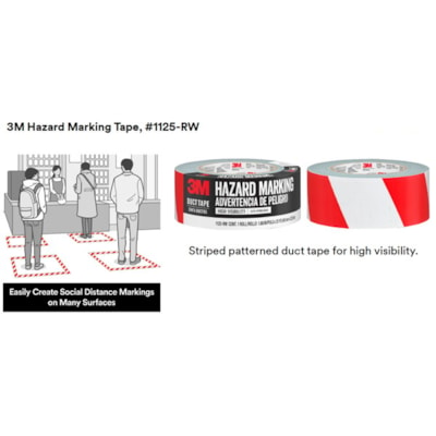 3M Hazard Marking Duct Tape, Red/White, 48 mm x 22.8 m RED/WHITE DUCT TAPE