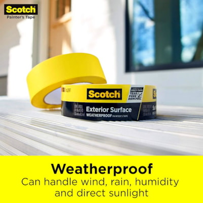 Scotch 2097 Exterior Surface Painter's Tape, Weatherproof, Yellow, 36 mm x 41.1 m YELLOW WEATHERPROOF PAINTER'S TAPE