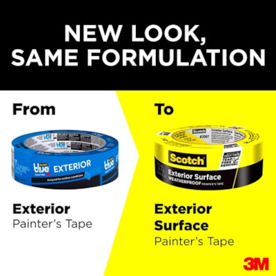 Scotch 2097 Exterior Surface Painter's Tape, Weatherproof, Yellow, 48 mm x 41.1 m  YELLOW WEATHERPROOF PAINTER'S TAPE